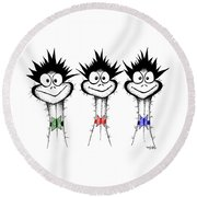 The Three Emu's Round Beach Towel