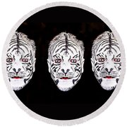 The Three Faces Round Beach Towel