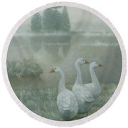 The Three Geese Round Beach Towel