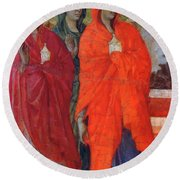 The Three Marys At The Tomb Fragment 1311 Round Beach Towel