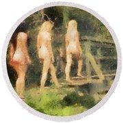 The Three Nymphs By Mary Bassett Round Beach Towel