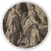 The Three Women Returning From The Tomb Round Beach Towel