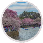 The Tidal Basin During The Washington D.c. Cherry Blossom Festival Round Beach Towel