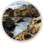 The Tide Rushes In Round Beach Towel