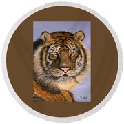 The Tiger, 16x20, Oil, '08 Round Beach Towel