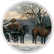 The Timber Wagon In Winter Round Beach Towel by Anonymous