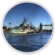 The Tower Hms Belfast And Tower Bridge Round Beach Towel