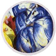 The Tower Of Blue Horses 1913 Round Beach Towel