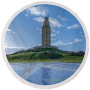 The Tower Of Hercules And The Rose Of The Winds Round Beach Towel