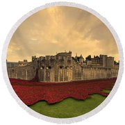 The Tower Poppies  Round Beach Towel