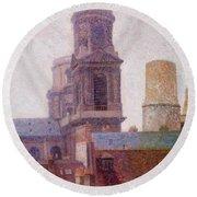 The Towers Saint Sulpice 1887 Round Beach Towel