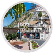 The Town Of Avalon Round Beach Towel