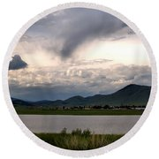 The Town Of Eagle Nest Round Beach Towel