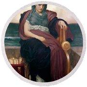 The Tragic Poetess Round Beach Towel by Frederic Leighton