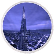 The Transamerica Pyramid At Sunset Round Beach Towel