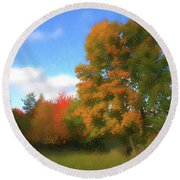 The Transition From Summer To Fall. Round Beach Towel