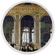 The Treaty Of Versailles Round Beach Towel by Sir William Orpen