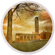 The Tree And The Bell Tower Round Beach Towel