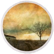 The Tree And The Roof Top Round Beach Towel