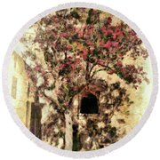 The Tree In The Corner Of The Courtyard Round Beach Towel