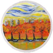 The Trees In Red. Day_march, 28  2015, Nizhny Novgorod, Russia_ Round Beach Towel