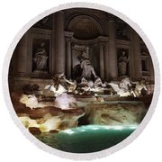 The Trevi Fountain In Rome Round Beach Towel