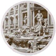 The Trevi Fountain In Sepia Tones Round Beach Towel