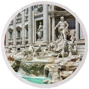 The Trevi Fountain In The City Of Rome Round Beach Towel
