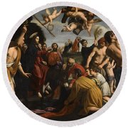 The Triumphal Entry Of Christ In Jerusalem Round Beach Towel