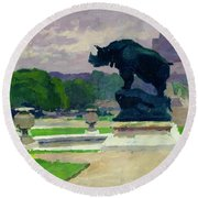The Trocadero Gardens And The Rhinoceros Round Beach Towel by Jules Ernest Renoux