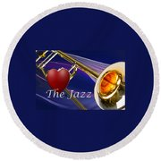 The Trombone Jazz 001 Round Beach Towel