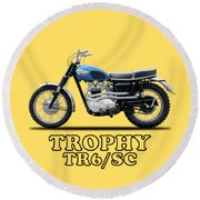 The Trophy Tr6 Sc Motorcycle Round Beach Towel