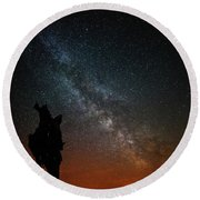 The Trunk Of A Dead Tree, Milky Way And Meteor Round Beach Towel