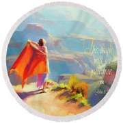 The Truth Will Set You Free Round Beach Towel