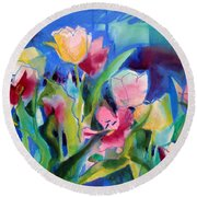 The Tulips Bed Rock Round Beach Towel