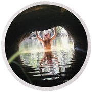 The Tunnel 7 Round Beach Towel
