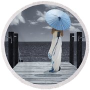 The Turquoise Parasol Round Beach Towel