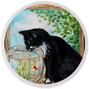The Tuxedo Cat And The Fish Bowl Round Beach Towel