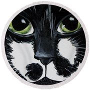 The Tuxedo Cat Round Beach Towel