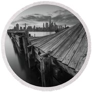 The Twisted Pier Bw Round Beach Towel