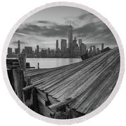 The Twisted Pier Panorama Bw Round Beach Towel