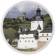 The Two Castles Of Kaub Germany Round Beach Towel