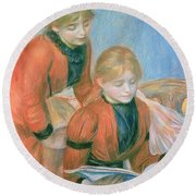 The Two Sisters Round Beach Towel by Pierre Auguste Renoir