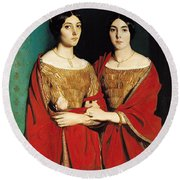 The Two Sisters Round Beach Towel by Theodore Chasseriau