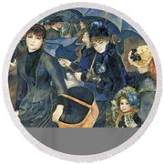 The Umbrellas Round Beach Towel by Pierre Auguste Renoir