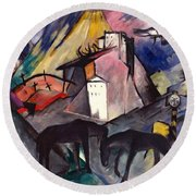 The Unfortunate Land Of Tyrol Franz Marc Painting Of Horses In A Valley Near A Cemetery  Round Beach Towel