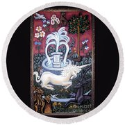 The Unicorn And Garden Round Beach Towel by Genevieve Esson