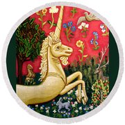 The Unicorn Round Beach Towel by Genevieve Esson