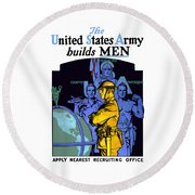 The United States Army Builds Men Round Beach Towel