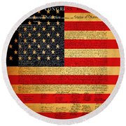 The United States Declaration Of Independence - American Flag - Square Round Beach Towel